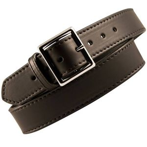 "Boston Leather 6505 Fully Lined Leather Garrison Belt 38"" Nickel Buckle Plain Leather Black 6505-1L-38"