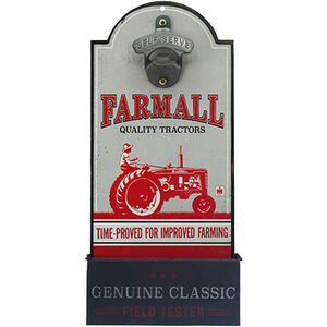 "Open Road Brands ""Farmall"" MDF Wood Sign with Bottle Opener 6""x13"""