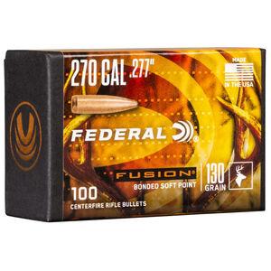 "Federal Fusion Bullets .270 Caliber .277"" Diameter 130 Grain Fusion Bonded Soft Point Projectile 100 Count Per Box"