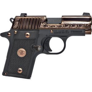 """SIG Sauer P238 Rose Gold Semi Auto Pistol .380 ACP 2.7"""" Barrel 6 Rounds SIGLITE Night Sites G10 Grips Polished and Engraved Slide Black Frame Two Tone Finish"""