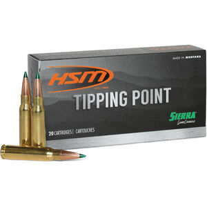 HSM Tipping Point 7mm-08 Rem Ammunition 20 Rounds 165 Grain Sierra GameChanger Polymer Tipped HPBT