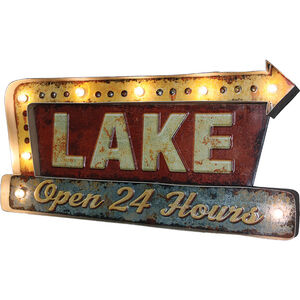 """River's Edge Products 3D """"Lake"""" LED Metal Bar Sign 2""""x20""""x10.5"""""""