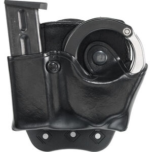 Aker Leather 519A DMS Combo Combination Magazine and ASP Handcuff Case Size 04 .45 ACP Double Stack Magazine Right Hand Leather Plain Black A519ABPRU-4