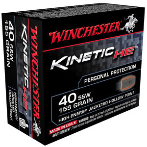 Winchester Kinetic HE .40 S&W 155 Grain JHP 20 Round Box