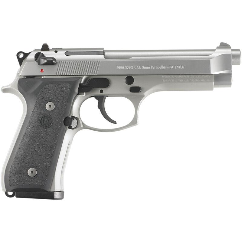 """Beretta 92FS Inox 9mm Luger Semi Auto Pistol 4.9"""" Barrel 10 Rounds Rubber Grips Silver Inox Finish"""