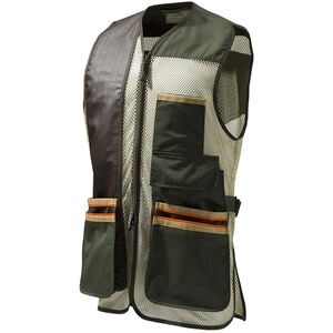 Beretta USA Two-Tone Vest 2.0 Cotton and Mesh Panels Faux Leather Shooting Patch Large Olive Green