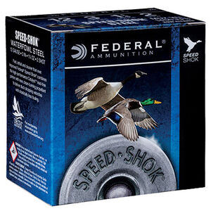 "Federal Speed-Shok Waterfowl 12 Gauge Ammunition 250 Round Case 3"" T Steel Shot 1-1/4 Ounce Steel Shot 1450 fps"