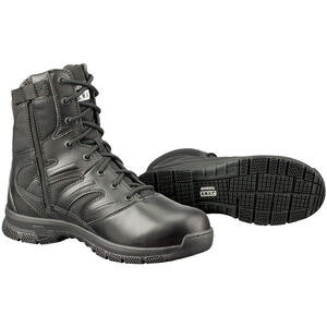 "Original S.W.A.T. Force 8"" Side-Zip Men's Boot Size 10.5 Wide Thermoplastic Heel and Toe Non-Marking Sole Leather/Nylon Black 152001W-105"