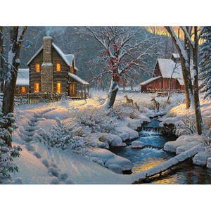 "Rivers Edge Products Warm and Cozy LED Art Canvas 16""x12""x1"""