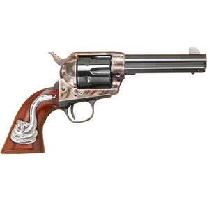 "Cimarron Man With No Name .45 LC Single Action Revolver 4.75"" Barrel 6 Rounds Hollywood Series Walnut Grips with Rattlesnake Inlay Case Color/Blued Finish"