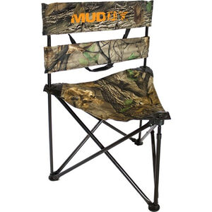 Muddy Outdoors Folding Tripod Ground Seat Padded Holds 250 lbs Epic Camo
