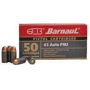 Barnaul Pistol Cartridges .45 ACP Ammunition 50 Rounds 230 Grain Full Metal Jacket Polycoated Steel Cased Cartridges