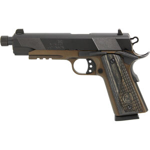 """Iver Johnson Eagle LR Special .45 ACP 1911 Government Semi Auto Handgun 5.75"""" Threaded Barrel 8 Rounds Series 70 Style Night Sights Blued/Midnight Bromze"""
