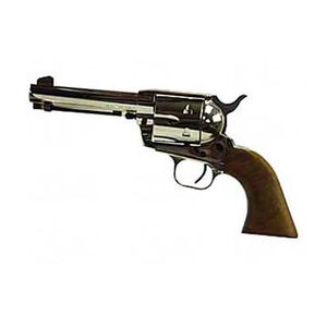 "European American Armory Bounty Hunter Revolver Single Action Army .22LR / .22WMR, 4.75"" Barrel, Nickel Finish, Walnut Grips, 8 Rounds, Right Hand, 2 Cylinders Included, 43.2oz, Fixed Sights 771125"