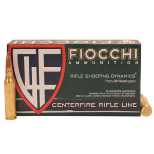 Fiocchi Shooting Dynamics 7mm-08 Remington Ammunition 20 Rounds 139 Grain Interlock Boat Tail 2800fps