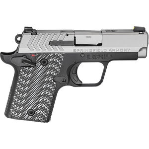 "Springfield Armory 911 9mm Luger Semi Auto Pistol 3"" Barrel 7 Rounds Pro-Glo Night Sights Steel Slide Aluminum Frame G10 Grips Two Tone Black/Stainless Finish"