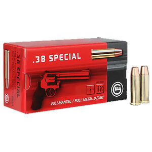 GECO .38 Special Ammunition 50 Rounds 158 Grain Full Metal Jacket Flat Nose