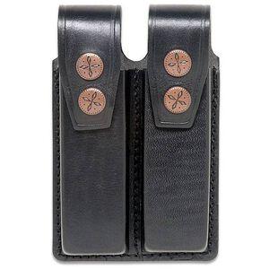 "JBP Double Magazine Case  Black Leather 2"" Belt Loops Holds two single Stack .45 Caliber"