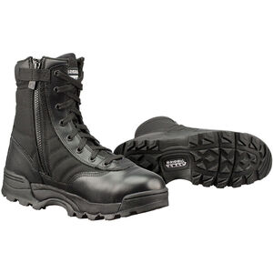 "Original S.W.A.T. Classic 9"" Side Zip Men's Boot Size 9.5 Regular Non-Marking Sole Leather/Nylon Black 115201-95"