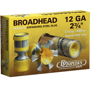 "DDupleks USA Broadhead Hexolit 32 12 Gauge Ammunition 5 Rounds 2 3/4"" 1-1/8 oz Expanding Steel Slug Lead Free 1400 fps"