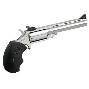 """NAA Mini-Master Revolver .22 Magnum 4"""" Barrel 5 Rounds Over-Sized Rubber Grips Stainless Steel Finish"""