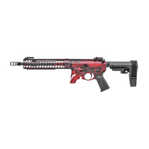 "Spikes Rare Breed Spartan AR-15 5.56 NATO Semi Auto Pistol 11.5"" Barrel Milled Spartan Helmet Lower 10"" M-LOK Hand Guard SBA3 Brace Red Battle Worn Finish"