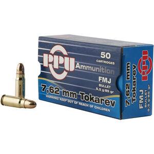 Prvi Partizan PPU 7.62x25 Tokarev Ammunition 50 Rounds 85 Grain FMJ 1720 fps