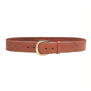 "Galco SB6 Fancy Stitched Belt 1-3/4"" Wide Size 40 Brass Buckle Leather Tan"