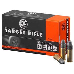 RWS Sport Line Semi Auto .22 Long Rifle Ammunition 50 Rounds 40 Grain Lead Round Nose 1082fps