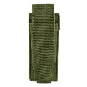 Voodoo Tactical Single Pistol Magazine Pouch Velcro Closure MOLLE Compatible Nylon OD Green