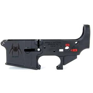 Spikes Tactical AR-15 Forged Stripped Lower Receiver Spider Logo Pictogram Selector Markings Aluminum Black STLS019-CE