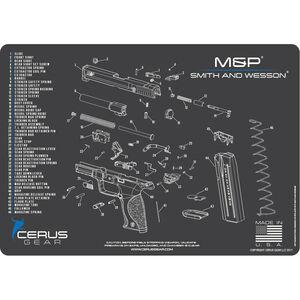 "Cerus Gear S&W M&P Schematic ProMat Handgun Size 12""x17"" Synthetic Grey/Blue"