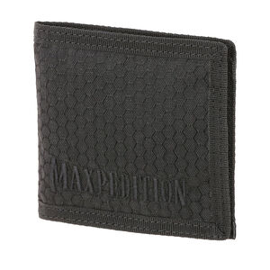 Maxpedition BFW Bi-Fold Wallet Triple Nylon Fabric Construction Anti-Counterfeit Logo Embossed Liner Teflon Coated Matte Black