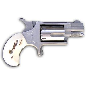 """NAA 22 LR Single Action Mini-Revolver .22 Long Rifle 5 Round 1-1/8"""" Barrel Faux Stag Grips Stainless Steel"""