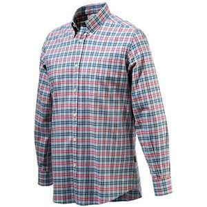 Beretta Men's Classic Drip Dry Shirt Long Sleeve Medium Red White and Blue Checkered