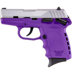 """SCCY Industries CPX-1 Semi Auto Handgun 9mm Luger 3.1"""" Barrel 10 Rounds Purple Polymer Frame with Satin Stainless Steel Finish CPX-1TTPU"""