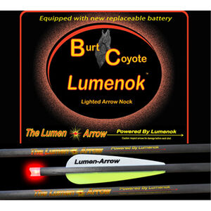 "Lumenoks Burt Coyote Red Crescent Illuminated Crossbow Bolt 20"" Carbon RB-425 Battery 319 Grains 3 Pack BECC3"