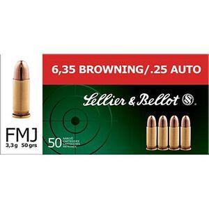 Sellier & Bellot .25 ACP Ammunition 50 Rounds FMJ 50 Grains SB25A