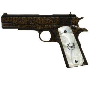 "Iver Johnson Hawk 1911A1 Moccasin Semi Auto Handgun .45 ACP 5"" Barrel 8 Rounds White Pearl Grips Water Moccasin Snakeskin Finish"