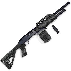 "Adaptive Tactical Maverick 88 Security Pump Action Shotgun 12 Gauge 18.5"" Barrel 2.75"" Chamber 10 Round Sidewinder Venom Drum Magazine Adjustable Stock Black AT-00201"