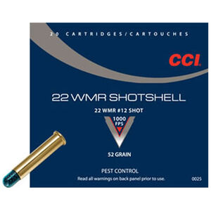 CCI Shotshell .22 WMR Ammunition 20 Rounds #12 Shot 52 Grain 1,000 Feet Per Second