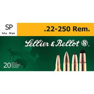 Sellier & Bellot .22-250 Remington Ammunition 20 Rounds SP 55 Grains SB22250B