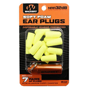 Walkers Game Disposable Ear Foam Ear Plug -32dB Noise Reduction Rating 7 Pairs Yellow