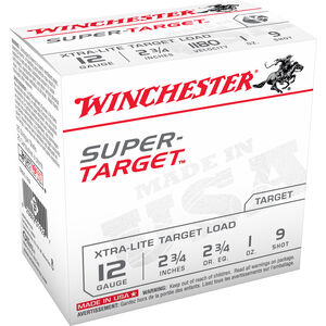 "Winchester Super-Target 12-Gauge Ammunition, 250 Rounds, 2.75"", #9 Lead, 1 oz"