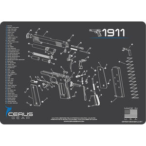 "Cerus Gear 1911 Schematic ProMat Handgun Size 12""x17"" Synthetic Grey/Blue"