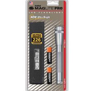 Maglite Mini Maglite Pro LED Flashlight 226 Lumens 2x AA Batteries Twist Switch Aluminum Body Silver SP2P10H