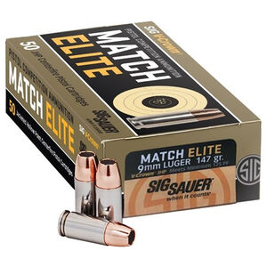 SIG Sauer Match Elite Competition 9mm Luger Ammunition 50 Rounds 147 Grain JHP 900 fps
