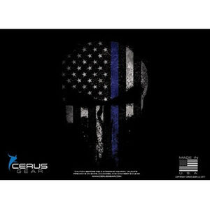 "Cerus Gear Reaper Thin Blue Line Flag ProMat Handgun Size 12""x17"" Synthetic Reaper Skull with Blue Line Flag on Black Background"
