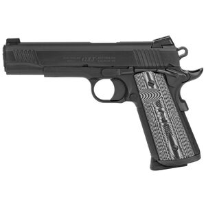"Colt Combat Unit 1911 Government Model .45 ACP Semi Auto Pistol 5"" Barrel 8 Round Novak Sights G10 Gray Scallop Grips PVD Black Finish"