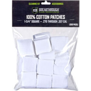 "Breakthrough Clean Technologies Square Cotton Patches 1-3/4"" .270 to .357 Caliber 50 Pieces"
